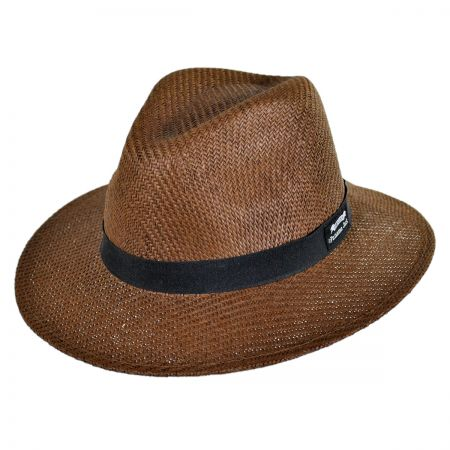 Panama Jack Ribbon Toyo Straw Safari Fedora Hat
