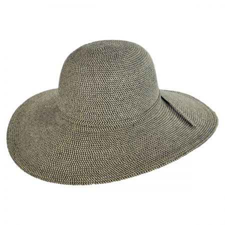 Jeanne Simmons Tweed Toyo Straw Floppy Sun Hat