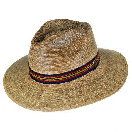 Tula Hats Striped Band Explorer Palm Straw Fedora Hat