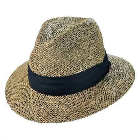 B2B Jaxon Seagrass Straw Safari Fedora Hat