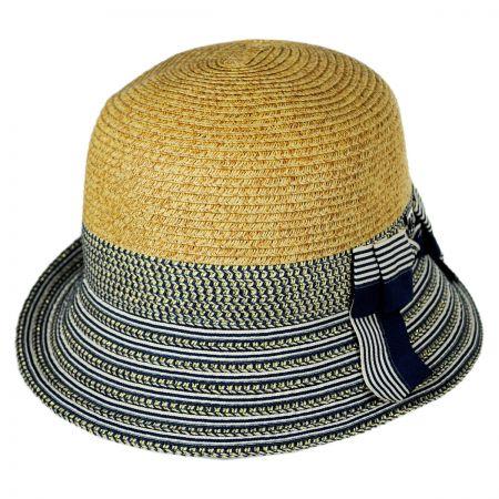 Callanan Hats Striped Brim Toyo Straw Cloche Hat
