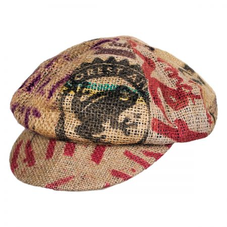 Hills Hats of New Zealand Havana Coffee Works Jute Baker Boy Hat