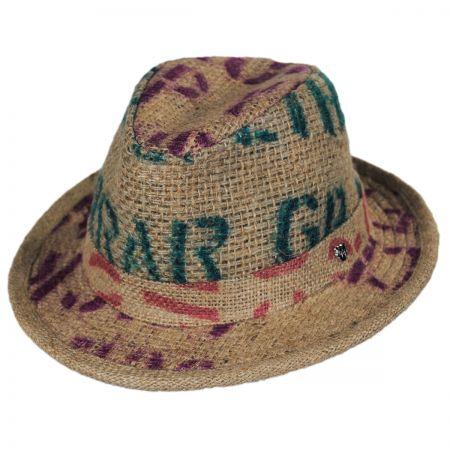 Hills Hats of New Zealand Havana Coffee Works Jute Mod Trilby Fedora Hat