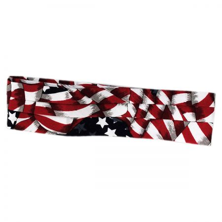 Village Hat Shop USA Flag Cotton 3-Pleat Hat Band