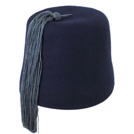 Village Hat Shop Navy Fez with Gray Tassel