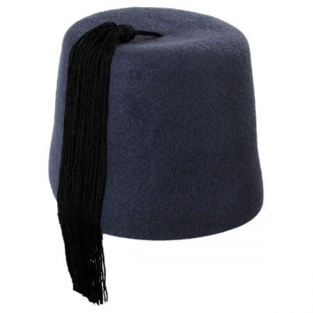 Village Hat Shop Grey Fez with Black Tassel