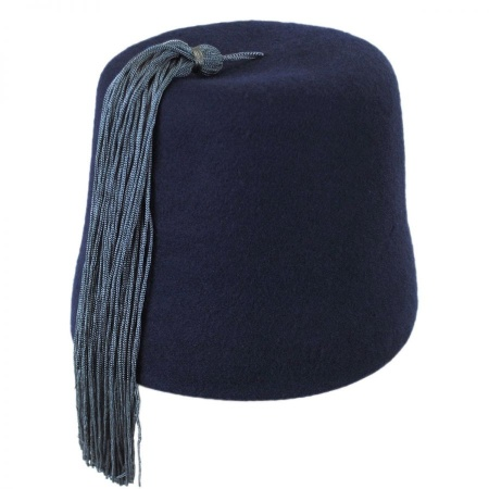B2B Navy Fez with Gray Tassel