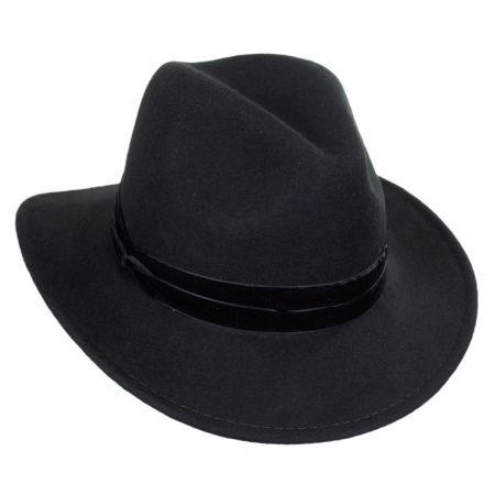 Scala Velvet Band Safari Fedora Hat