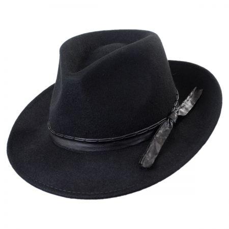 Callanan Hats Pleather Trim Wool Felt Safari Fedora Hat