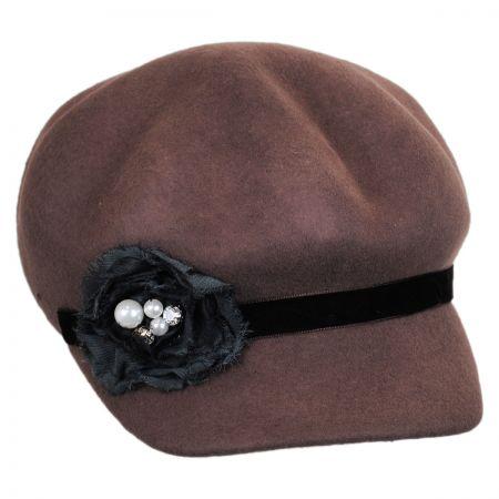 Callanan Hats Rosette Wool Felt Jockey Cap