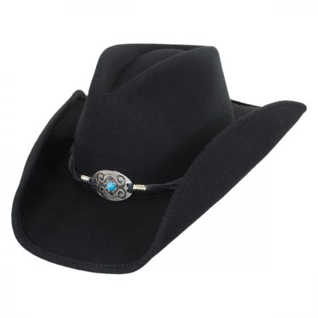 Scala Concho and Leather Western Hat