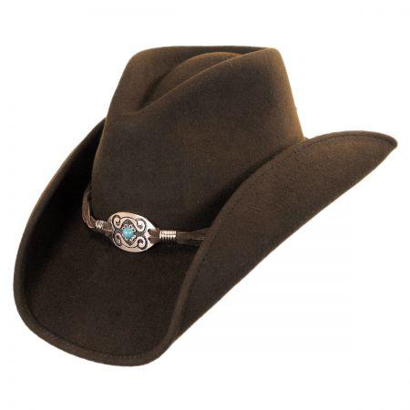 Scala Concho and Leather Wool Felt Western Hat