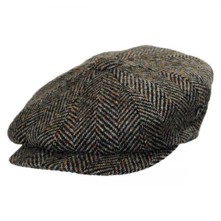 City Sport Caps Large Herringbone Donegal Tweed Wool Newsboy Cap - Olive Green