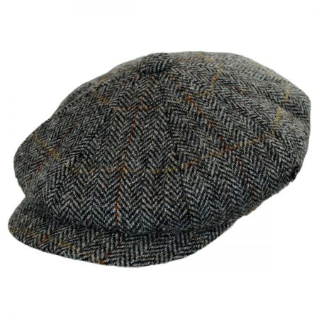 City Sport Caps Harris Tweed Herringbone Newsboy Cap (Gray/Charcoal)