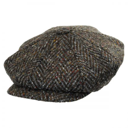 City Sport Caps Large Herringbone Donegal Tweed Wool Newsboy Cap - Charcoal/Olive