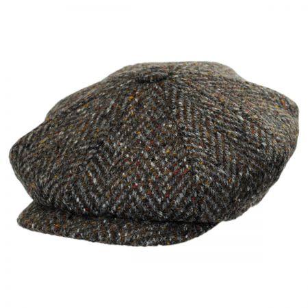City Sport Caps Large Herringbone Donegal Tweed Wool Newsboy Cap - Charcoal/Olive