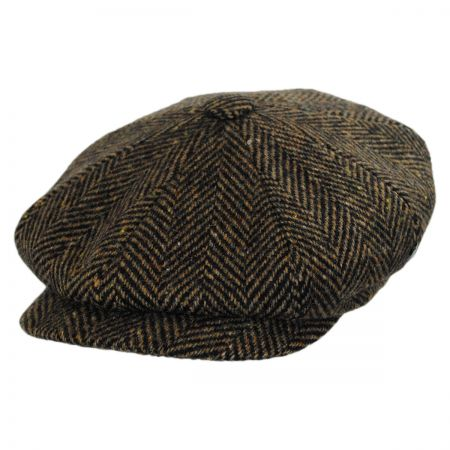 City Sport Caps Donegal Tweed Large Herringbone Newsboy Cap (Tan/Brown)