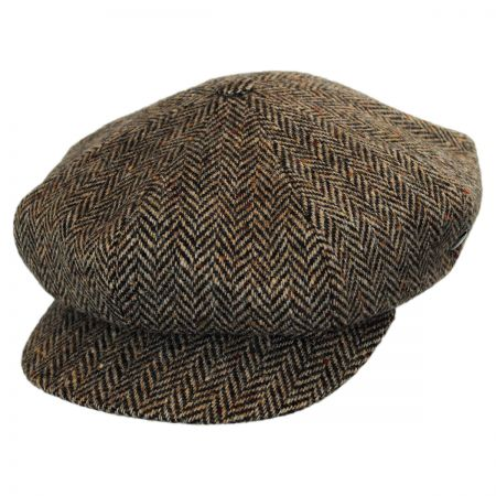 City Sport Caps Donegal Tweed Herringbone Baker Boy Cap (Beige/Brown)