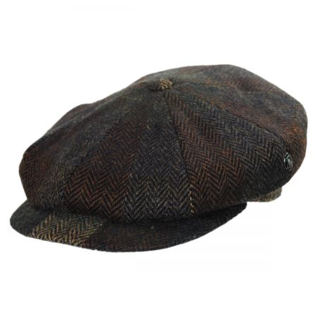 City Sport Caps Donegal Tweed Patchwork Herringbone Newsboy Cap (Brown/Navy)