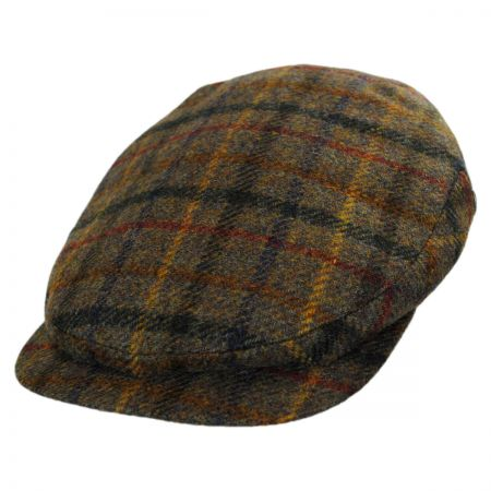 City Sport Caps Harris Tweed Plaid Ivy Cap (Olive Green)