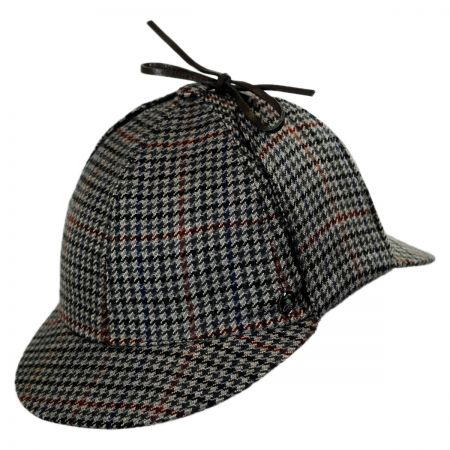 City Sport Caps Wool and Cashmere Houndstooth Sherlock Holmes Hat (Gray)