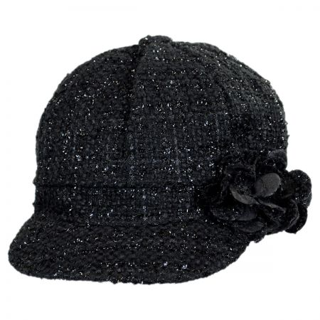 Scala Sparkle Tweed Newsboy Cap