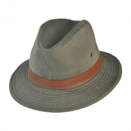 Dorfman Pacific Packable Cotton Twill Safari Fedora Hat