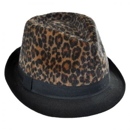 Scala Leopard Crown Faux Fur Fedora Hat