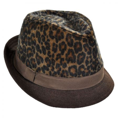 Scala Leopard Crown Faux Fur Fedora Hat