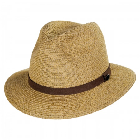 B2B Jaxon Ramie Straw Blend Safari Fedora Hat