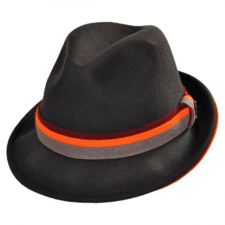Three Tone Band Wool Felt Fedora Hat alternate view 1
