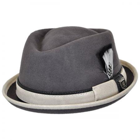 Stacy Adams Snakeskin Diamond Crown Fedora Hat