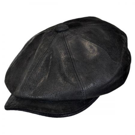 Rustic Leather Newsboy Cap