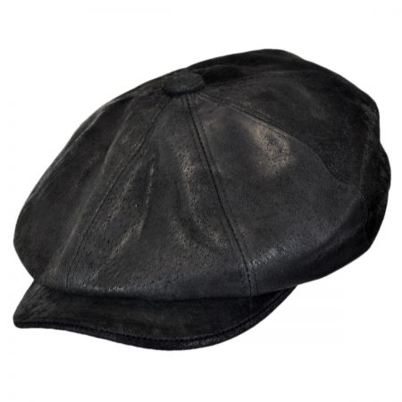 9650fdfd1a4 Black Leather Flat Cap at Village Hat Shop