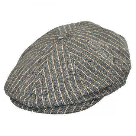 Brixton Hats Brood Striped Linen Newsboy Cap