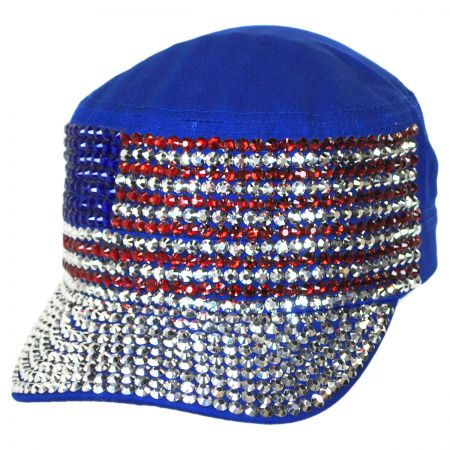 USA Flag Studded Cotton Cadet Cap alternate view 1
