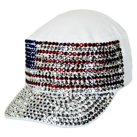 USA Flag Studded Cotton Cadet Cap