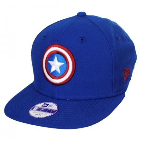 New Era Marvel Comics Captain America Block Back 9Fifty Youth Snapback Baseball Cap