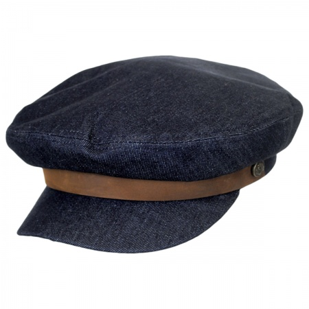Brixton Hats Dark Denim Cotton Fiddler Cap