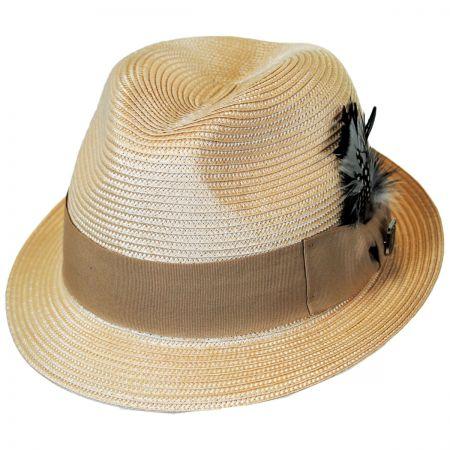 Stacy Adams Polybraid Straw Pinch Front Fedora Hat