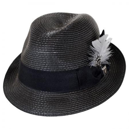 Stacy Adams Polybraid Straw Pinch Crown Fedora Hat