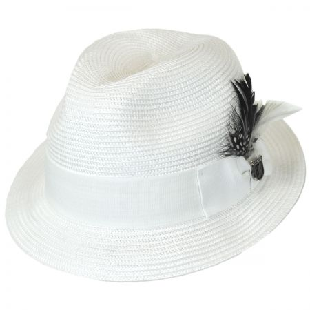 Stacy Adams Polybraid Straw Pinch Crown Fedora Hat