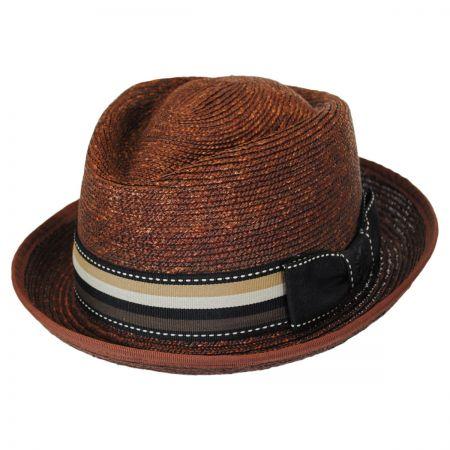 Stacy Adams Striped Band Wheat Straw Diamond Crown Fedora Hat