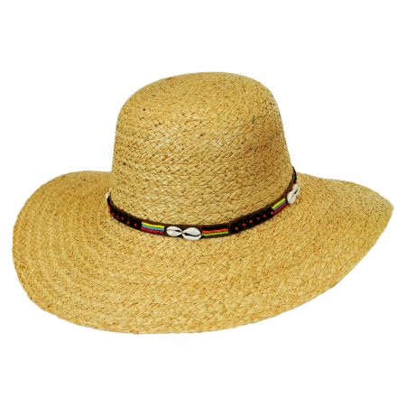Callanan Hats Shell and Bead Band Raffia Straw Swinger Hat
