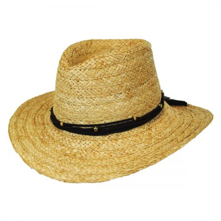 Callanan Hats Twisted Leather Band with Feathers Raffia Straw Aussie Hat