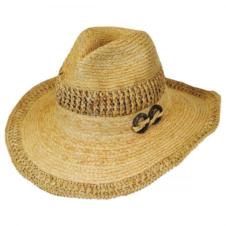 Callanan Hats Coco Wood Rings Raffia Straw Western Hat