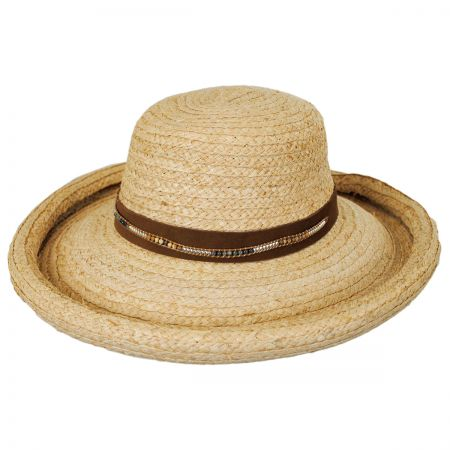 Callanan Hats Beaded Suede Band Raffia Straw Roller Hat