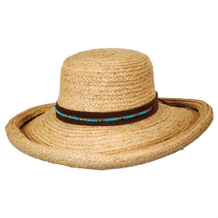 Callanan Hats Beaded Suede Band Raffia Straw Roller Hat