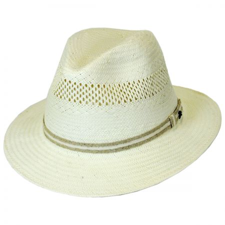 Tommy Bahama Jute Trim Toyo Straw Safari Fedora Hat