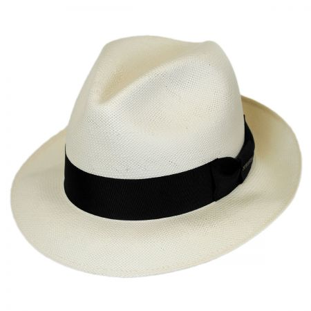 Stetson Haberdash Center Pinch Shantung Straw Fedora Hat